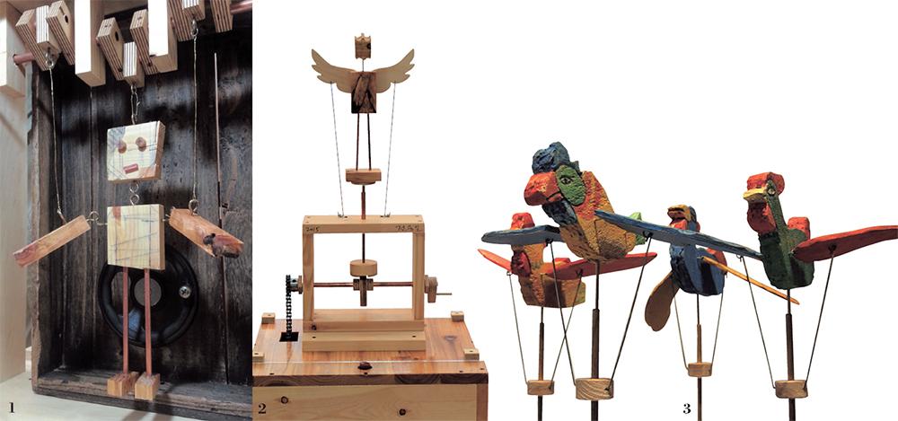 1 오토마타 작품 <mechanical Human>.2 오토마타 작품 <날아오를테야>.3 2010년 <꼭두가 움직여요>展 전시 작품.